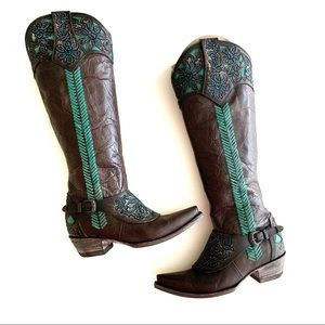 Old Gringo   Tooled Leather Tall Boots 7 New